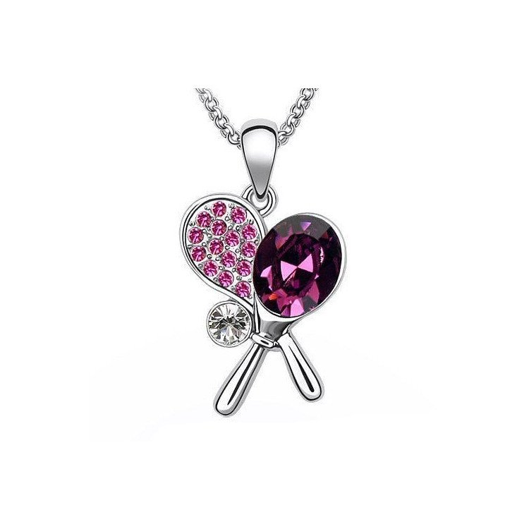 Tennis necklace consisting of pendant with purple-red crystal tennis rackets