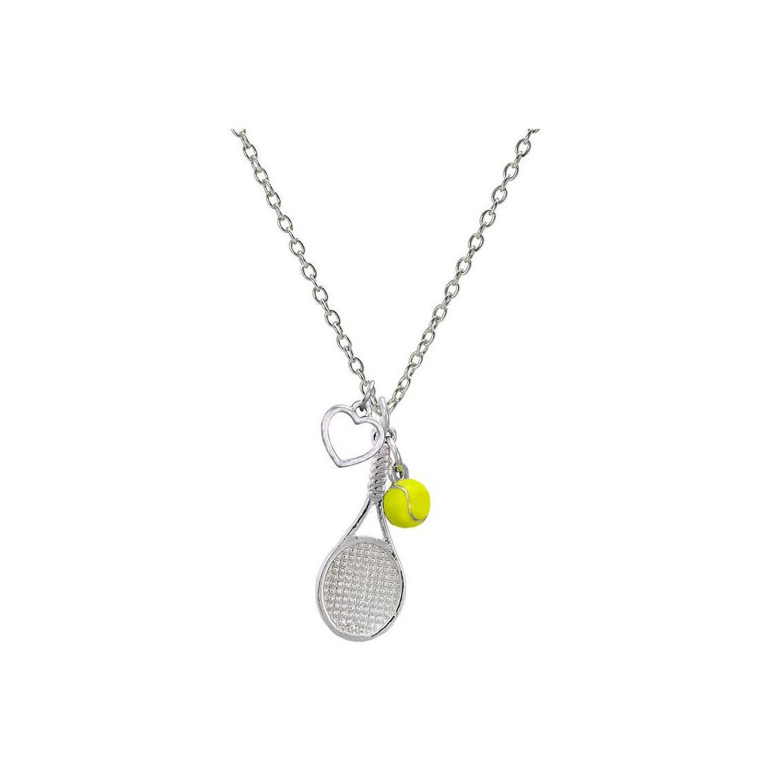 Tennis necklace consisting of pendant with tennis racket, yellow ball & heart