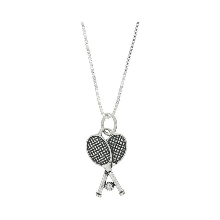 Tennis necklace consisting of pendant with two tennis rackets & ball (sterling silver)