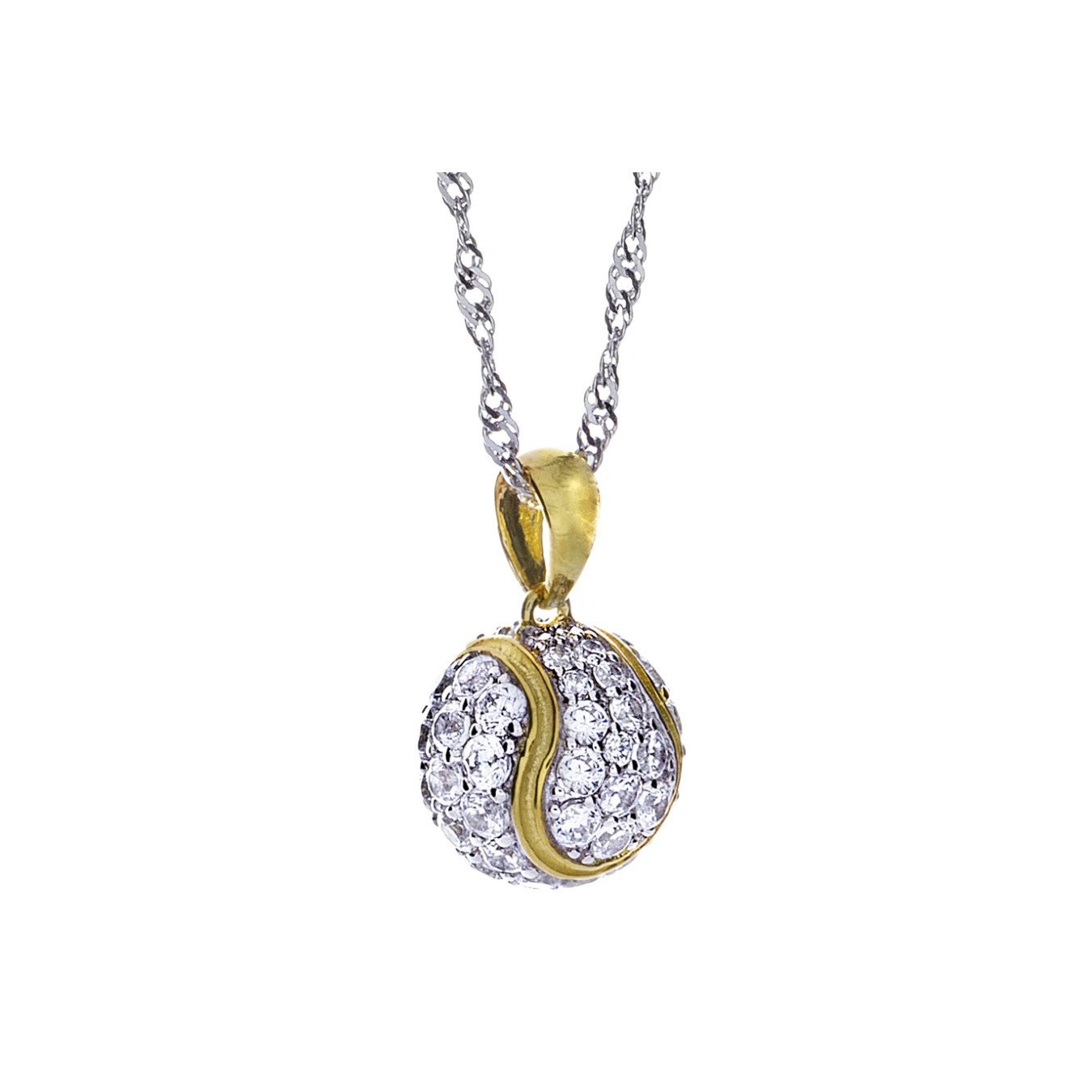 Tennis necklace consisting of tennis ball pendant – CZs, 925 silver, and 18K micro plate yellow gold-plating
