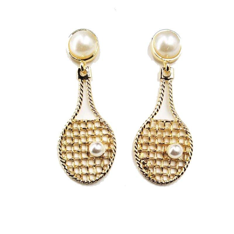 Tennis racket earrings with pearls