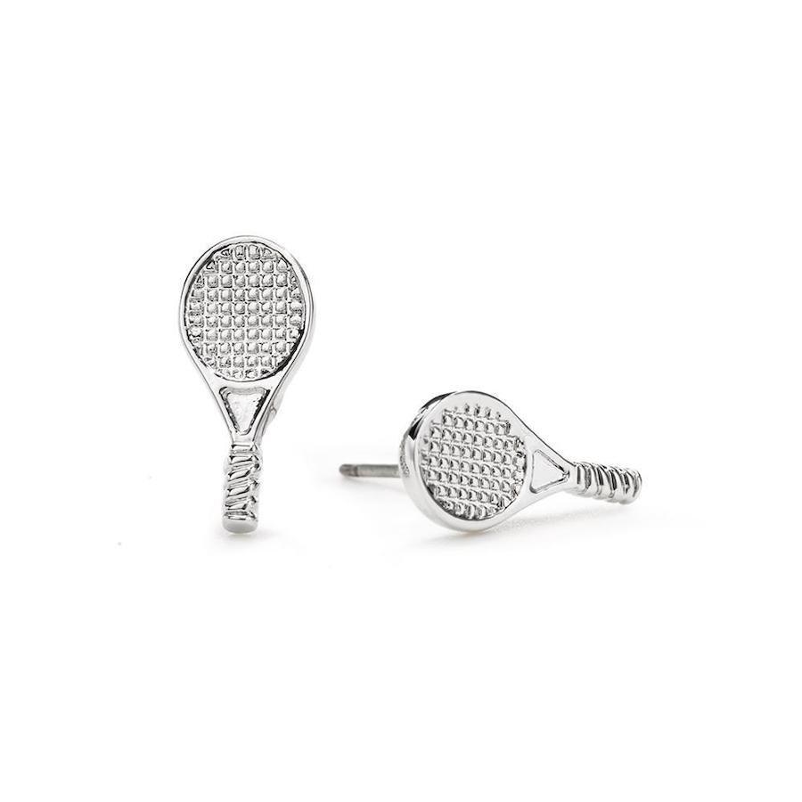 Tennis racket silver stud earrings