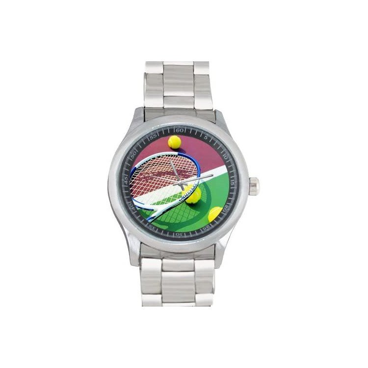 Tennis watch with racket and balls