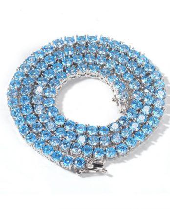 Topaz Blue Tennis Chain – White Gold