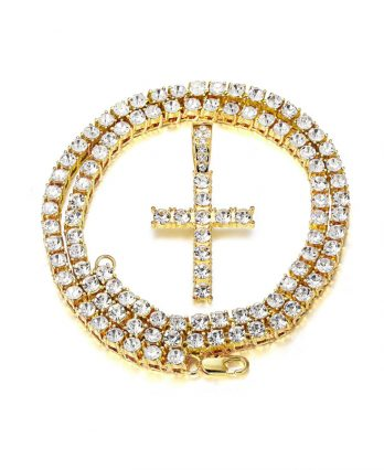 Unisex Iced-Out Diamond Tennis Chain – 18K Gold-Plated with CZ Pendant